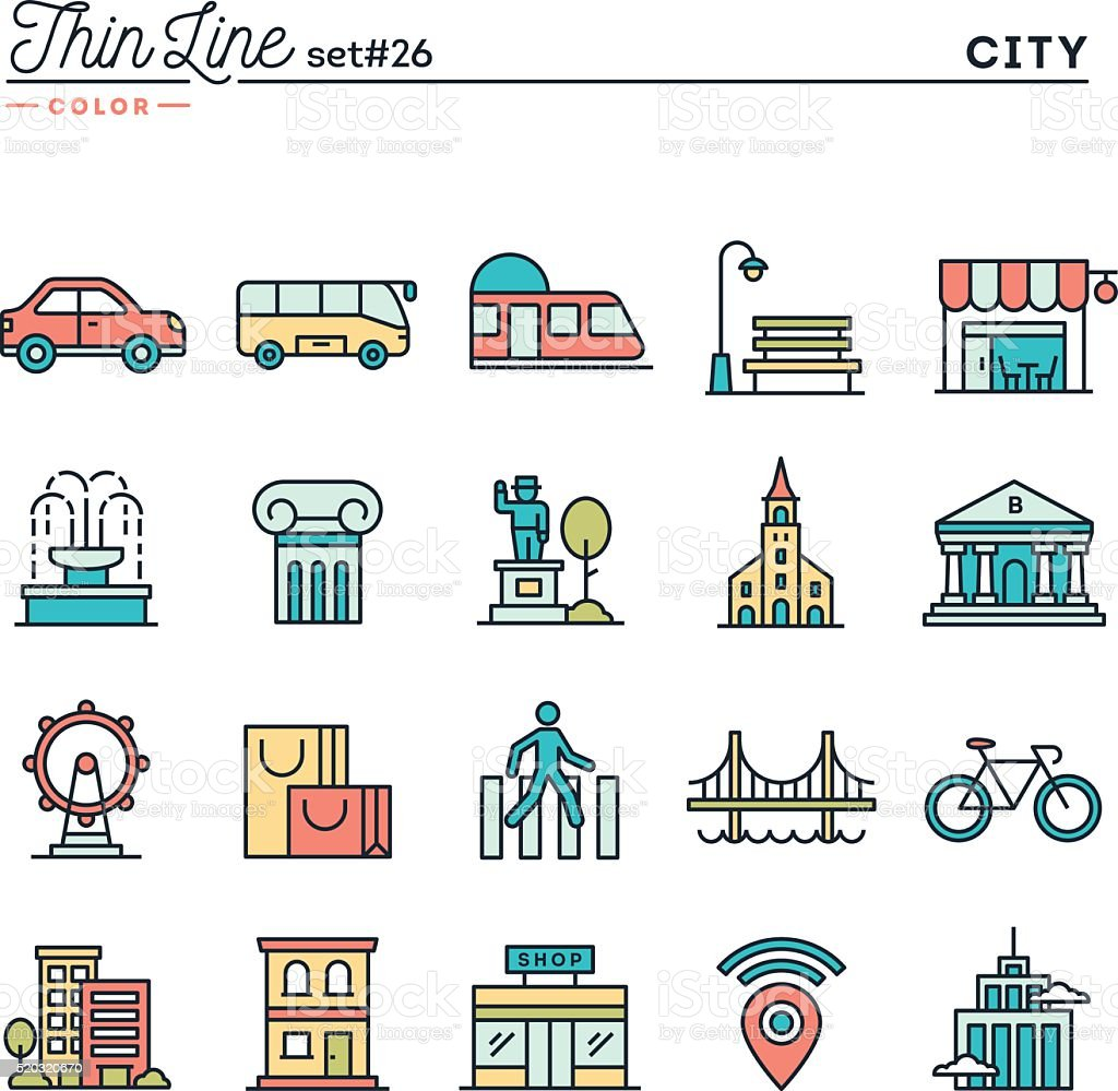 City, transportation, culture, shopping and more, thin line color icons vector art illustration