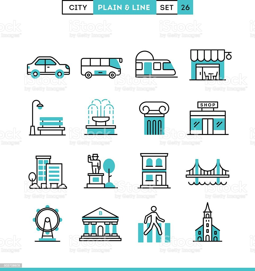 City, transportation, culture, shopping and more. vector art illustration