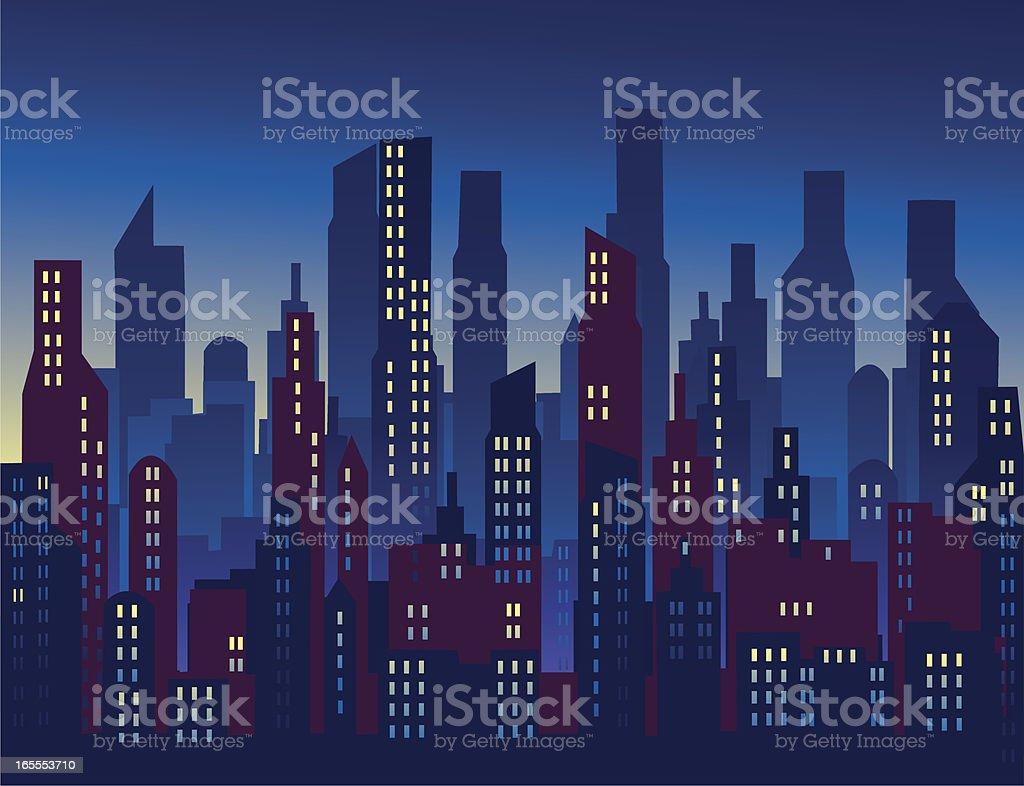 City Twilight vector art illustration