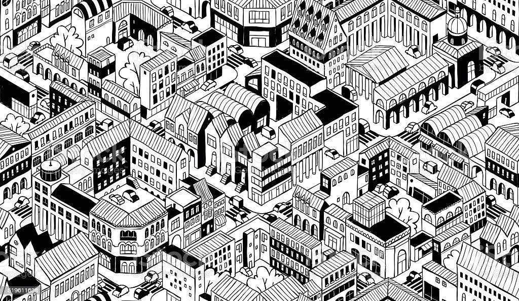 City Urban Blocks Isometric Seamless Pattern - Small vector art illustration
