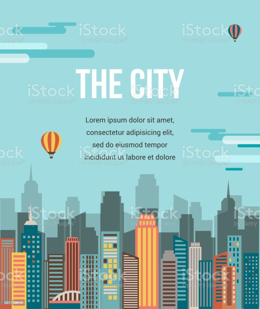 City - vector background vector art illustration