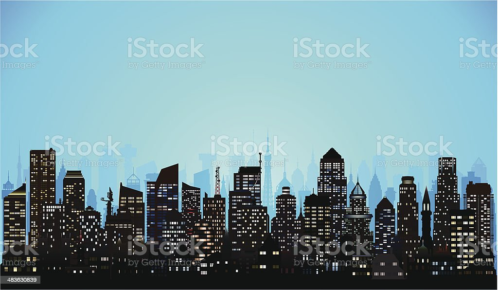 City (Complete, Moveable, Detailed Buildings) vector art illustration