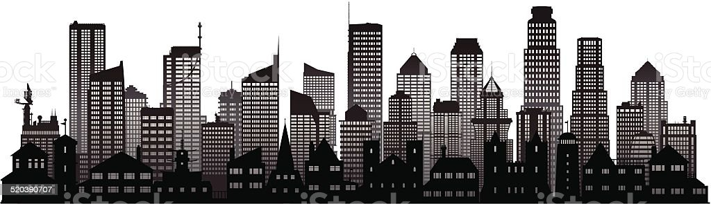 City (Complete, Separate Detailed Buildings) vector art illustration