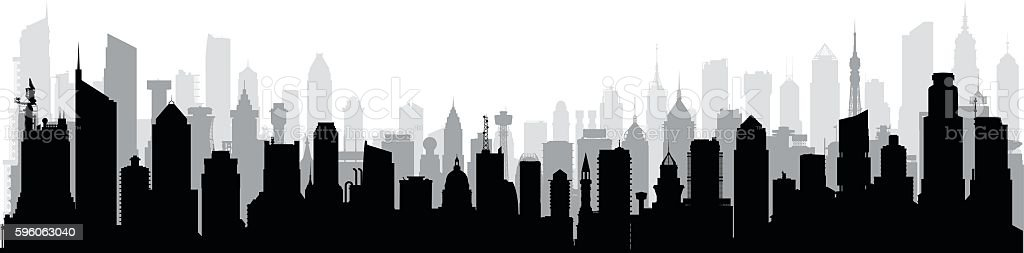 City (Each Building is Moveable and Complete) vector art illustration