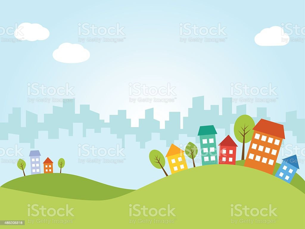 City with colored houses vector art illustration