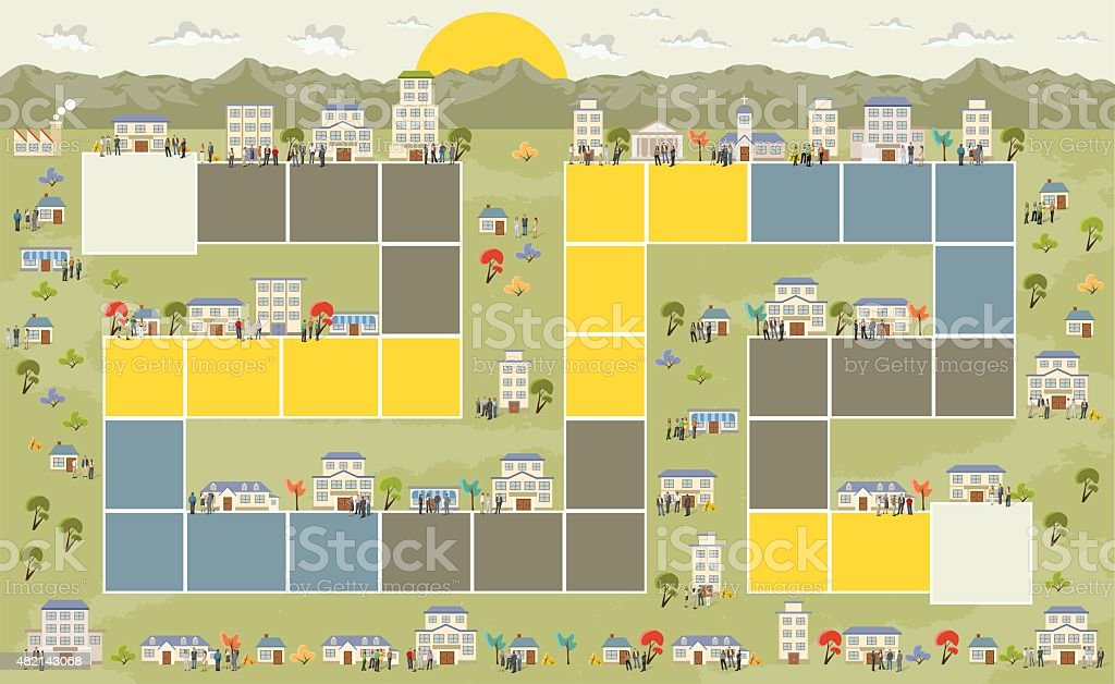 city with people vector art illustration