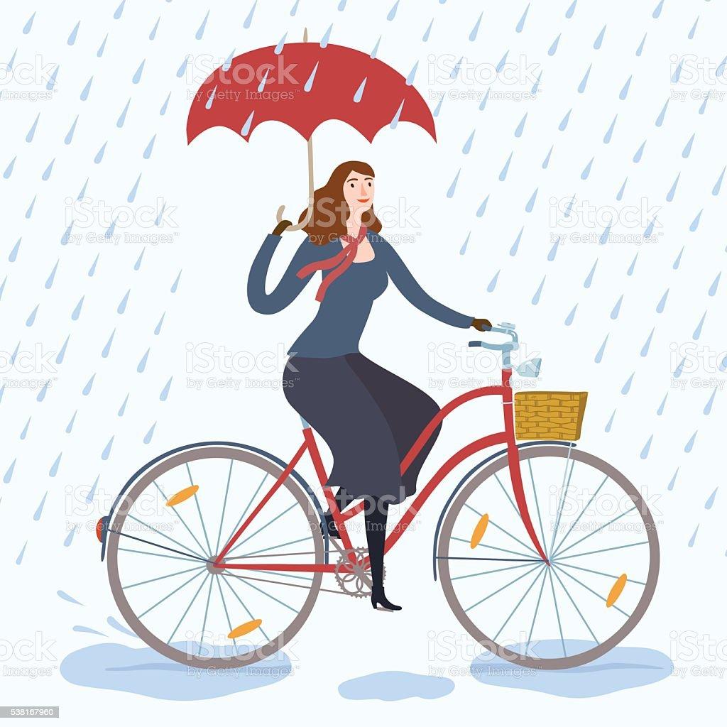 City woman cyclist under the rain vector illustration vector art illustration