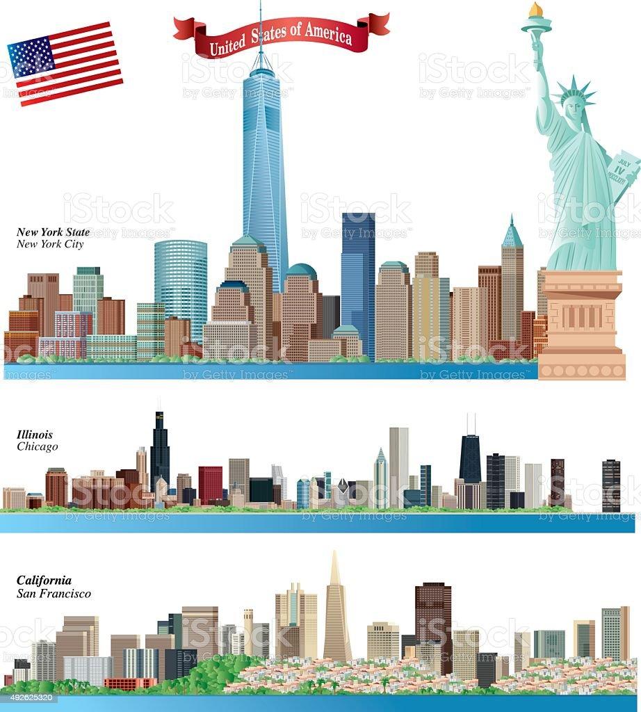 USA Citys Skyline vector art illustration