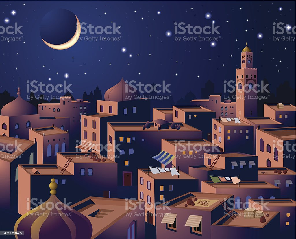 Cityscape at Night of Middle Eastern Country royalty-free stock vector art