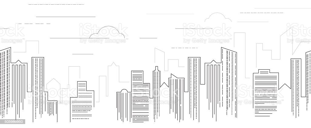 Cityscape black and white vector art illustration