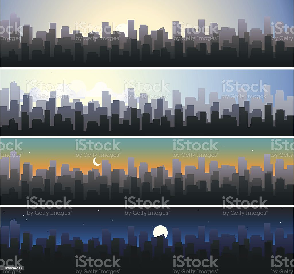 Cityscape   Dawn Morning Dusk & Night vector art illustration