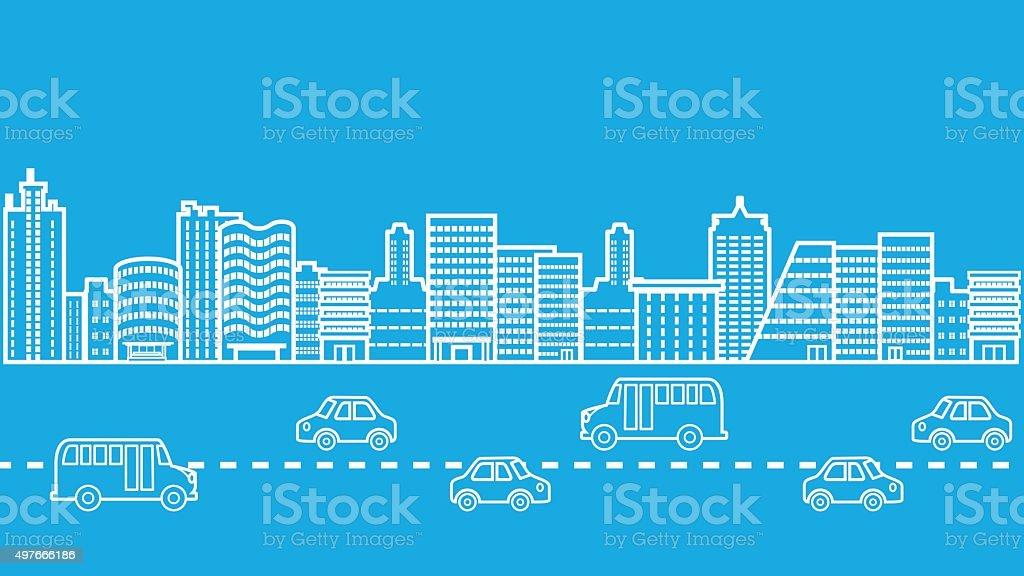 Cityscape Highway Road Traffic Jam vector art illustration
