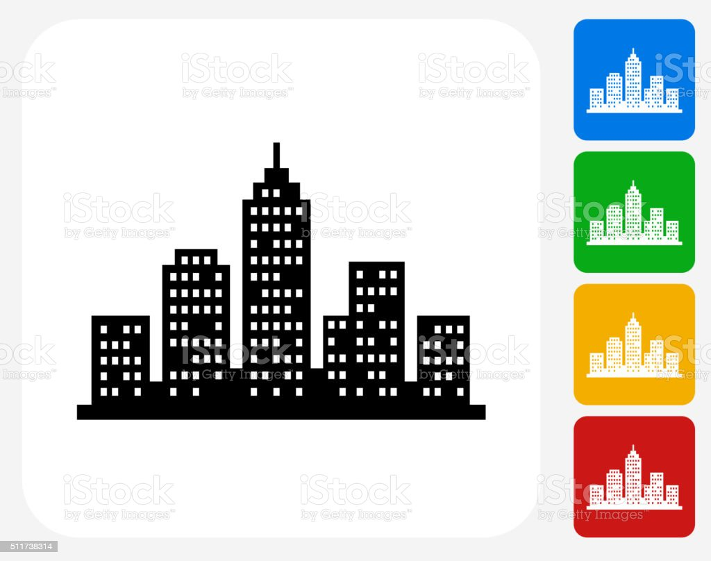 Cityscape Icon Flat Graphic Design vector art illustration