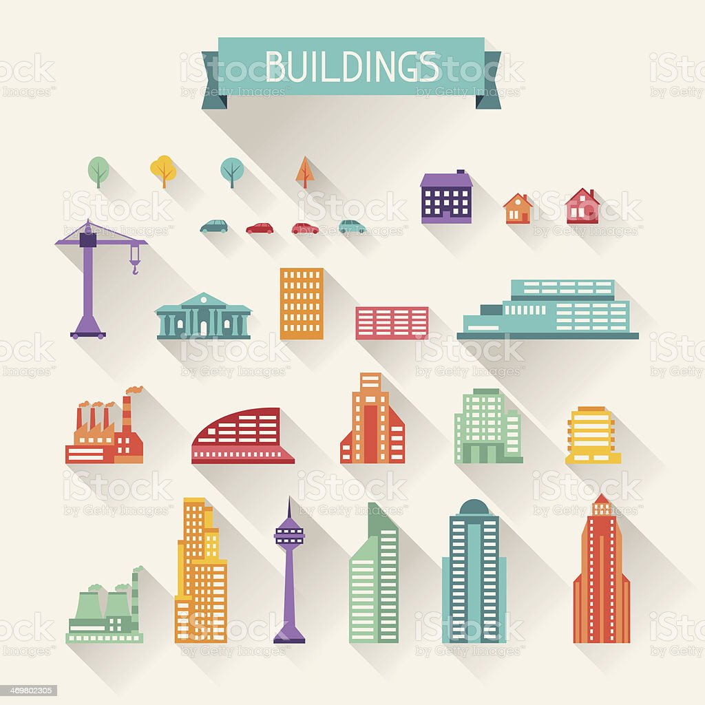 Cityscape icon set of buildings. vector art illustration