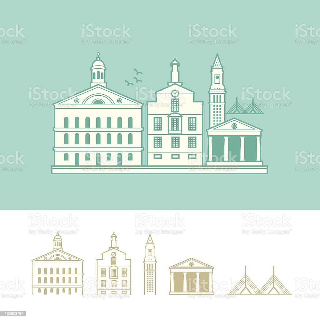 Cityscape of Boston, Massachusetts, USA vector art illustration
