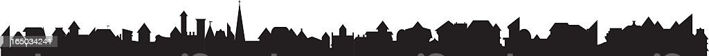 Cityscape of fifty low-rise buildings vector art illustration