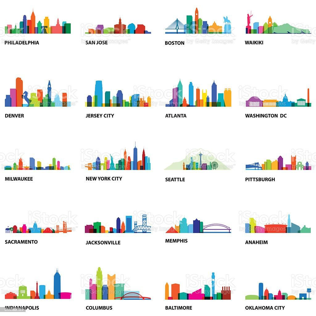 US Cityscape Overlays 2 - Illustration vector art illustration