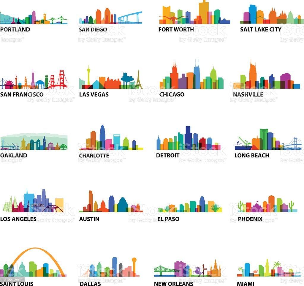 US Cityscape Overlays vector art illustration