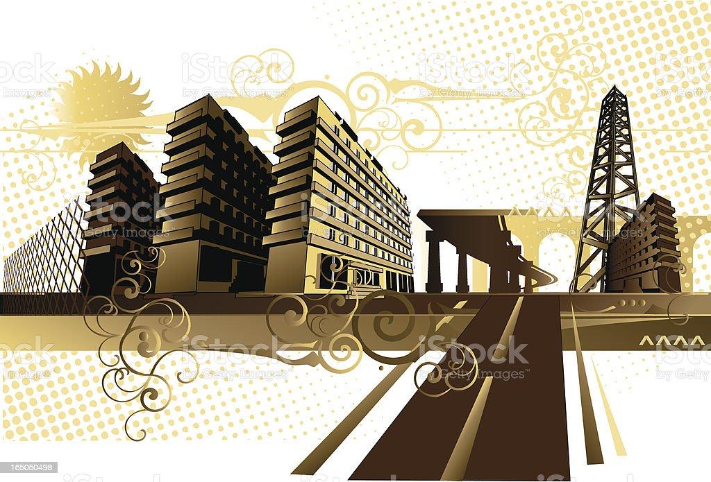 Cityscape - road royalty-free stock vector art
