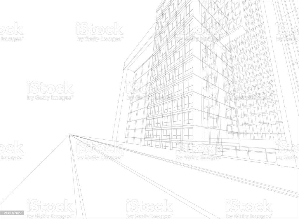 Cityscape scene wireframe building vector art illustration