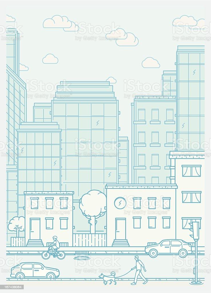 Cityscape scene with neighbourhood and people vector art illustration