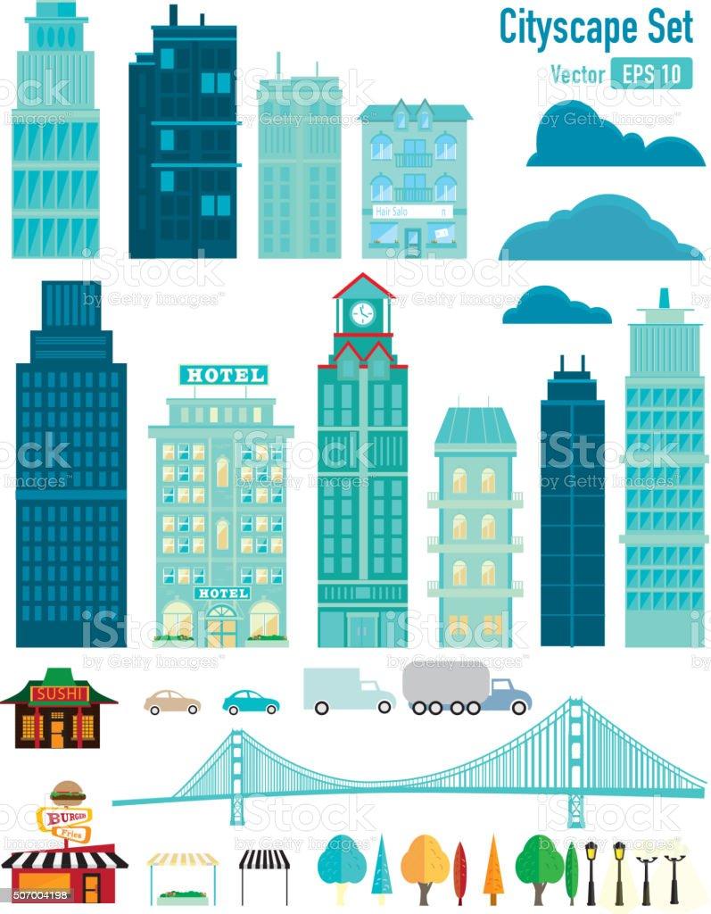 Cityscape Set vector art illustration
