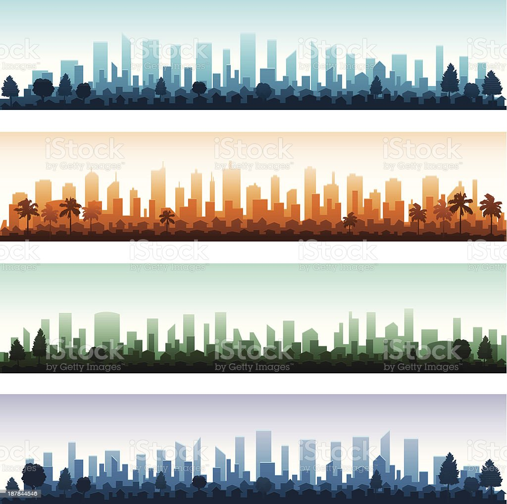 Cityscape silhouette city panoramas vector art illustration