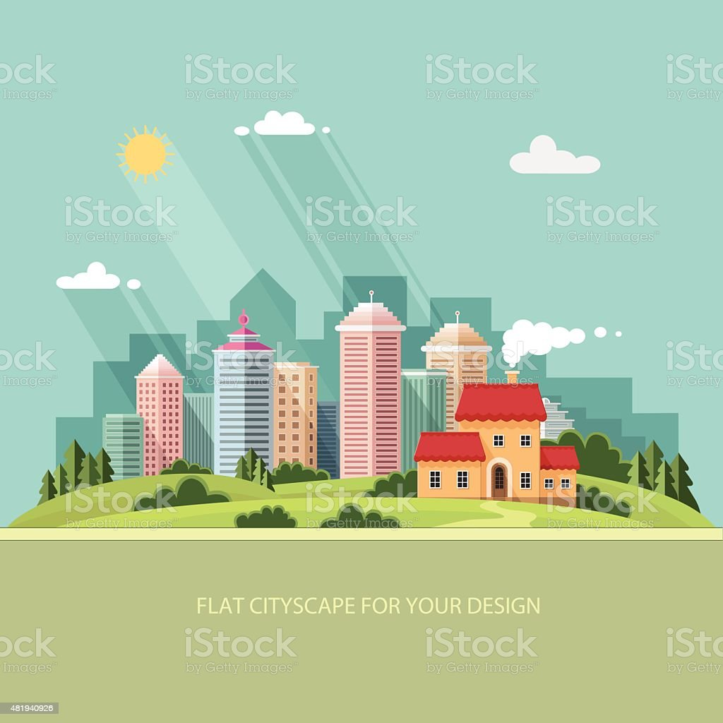 cityscape summer  Country house on a background of a big city. vector art illustration