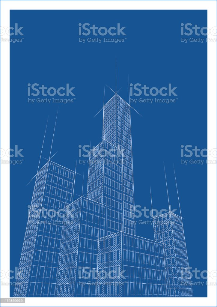 Cityscape Two Blueprint royalty-free stock vector art