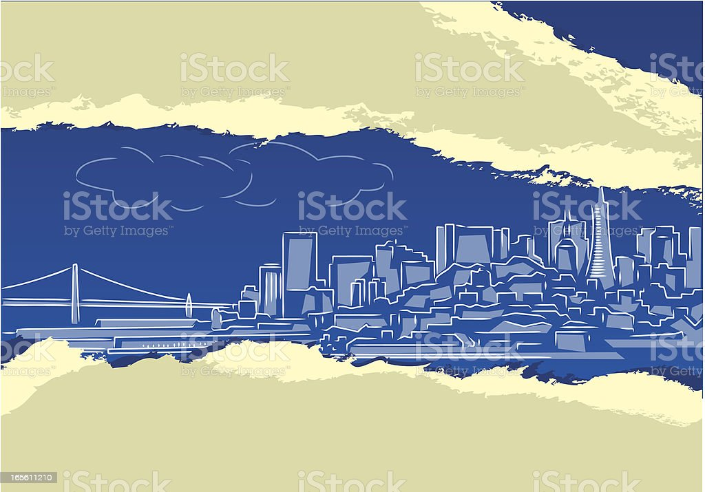 Cityscape under Ripped Paper royalty-free stock vector art