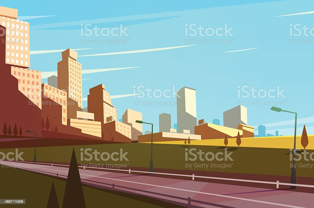 Cityscape with a highway. vector art illustration