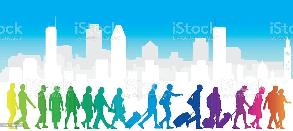Cityscape with colourful tourist silhouettes vector art illustration
