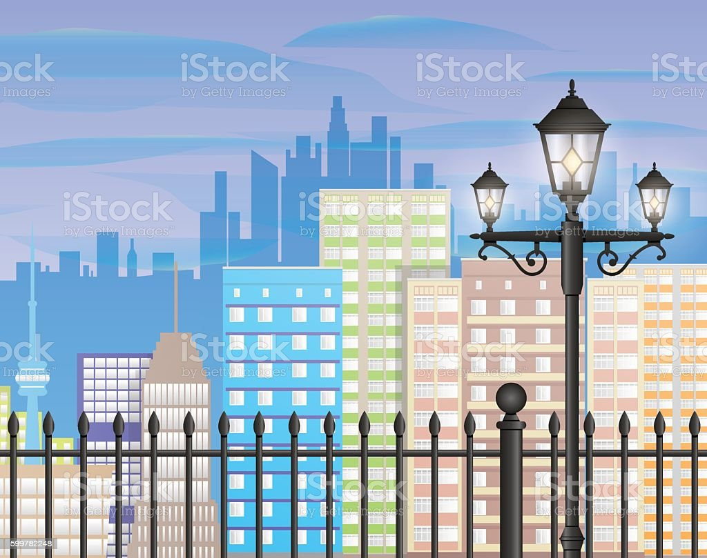 Cityscape with office and residental buildings vector art illustration