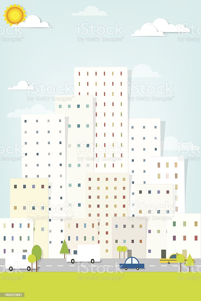cityscape with street traffic. panorama town royalty-free stock vector art