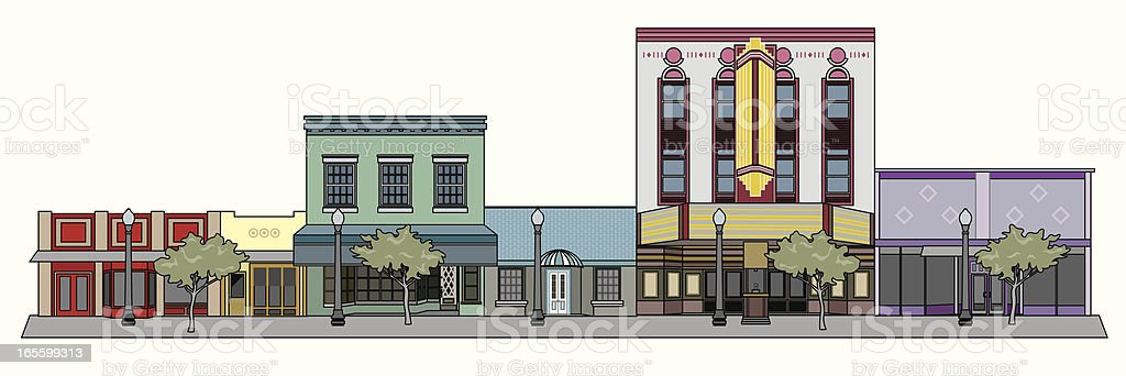 Cityscape with Theater vector art illustration