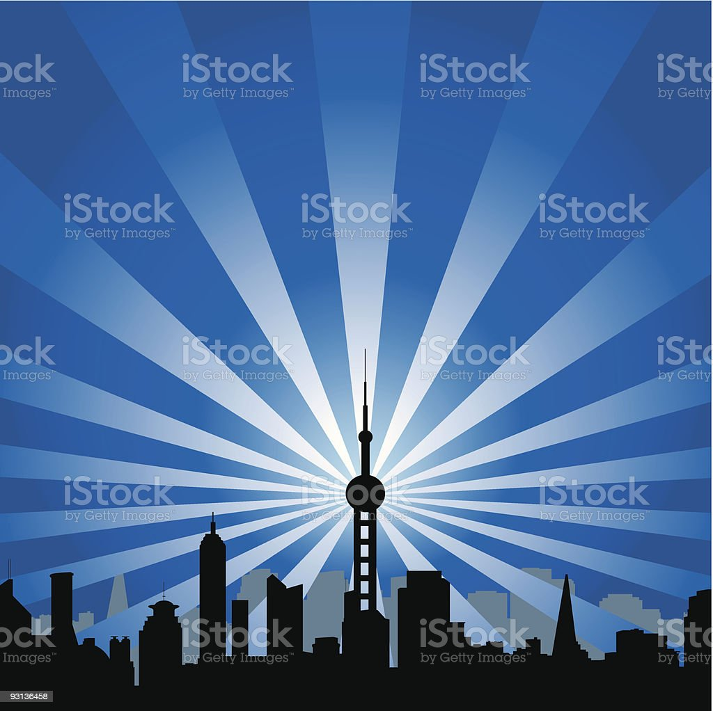 cityscape with tower royalty-free stock vector art