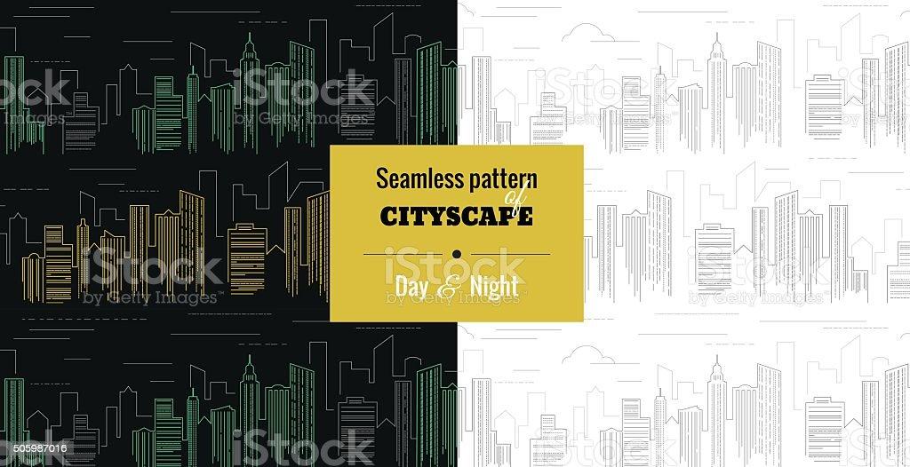 Cityscape_seamless pattern vector art illustration