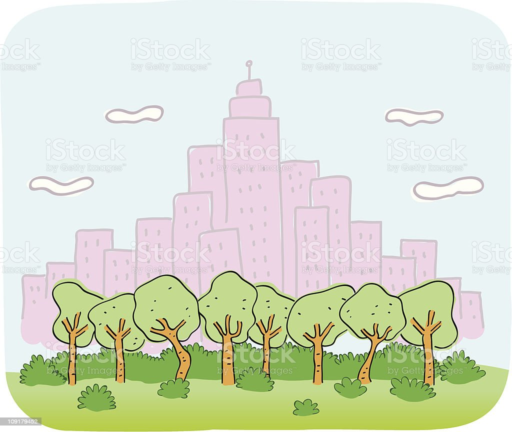 Cityview and nature cartoon vector art illustration