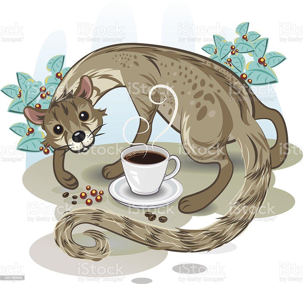 Civet Coffee Kopi Luwak royalty-free stock vector art