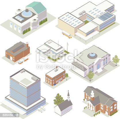 Isometric civic and community buildings
