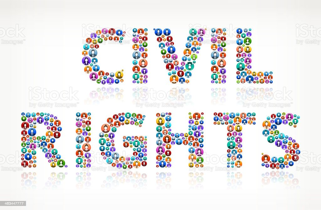 Civil Rights on Colorful People Buttons vector art illustration
