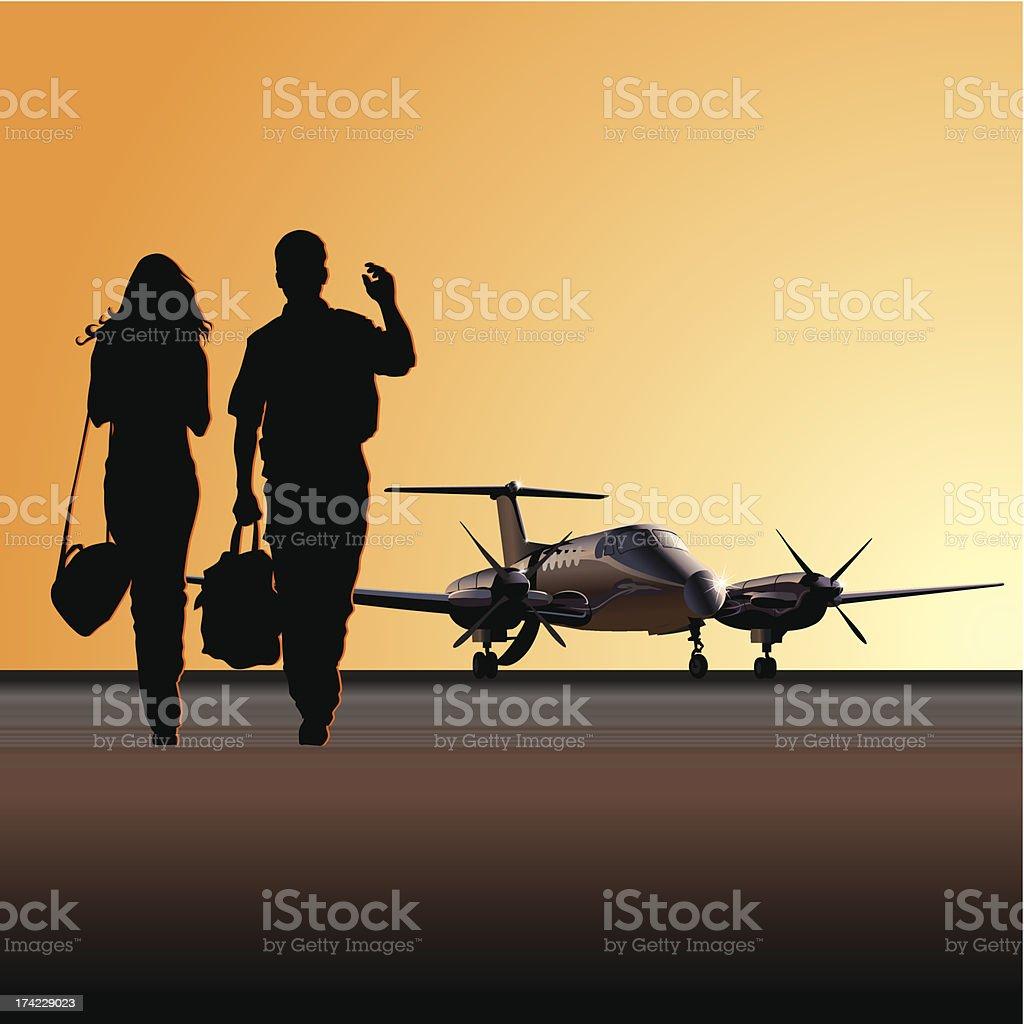 Civil utility aircraft at aerodrome royalty-free stock vector art