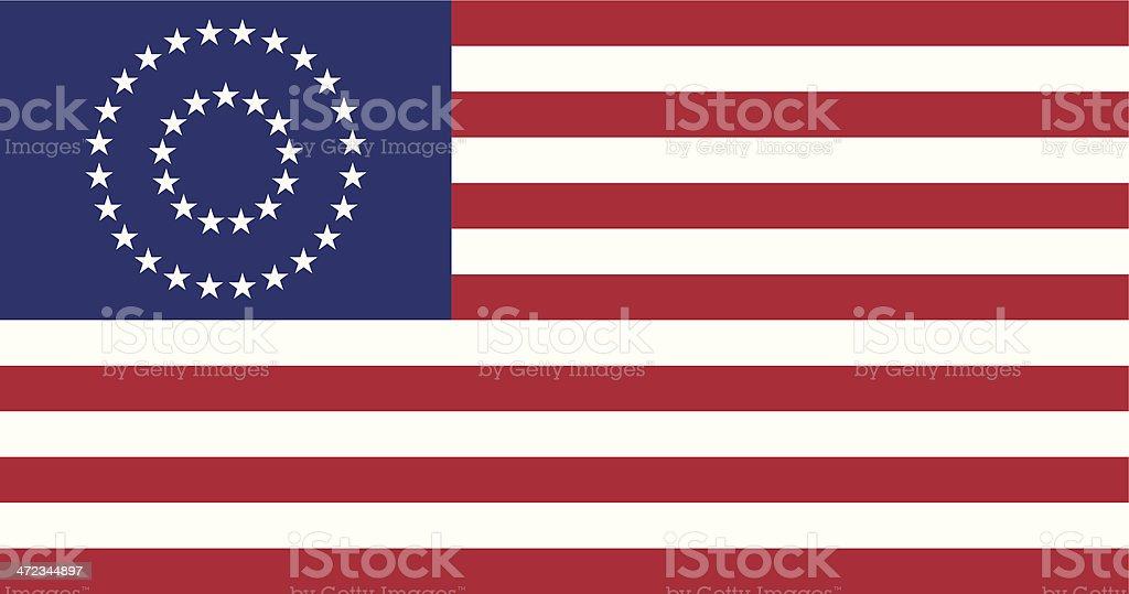 US Civil War Union -37 Star Medalion- Flag Flat royalty-free stock vector art