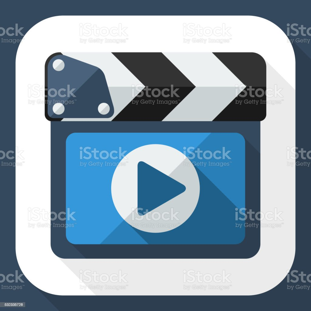 Clapboard icon with long shadow vector art illustration
