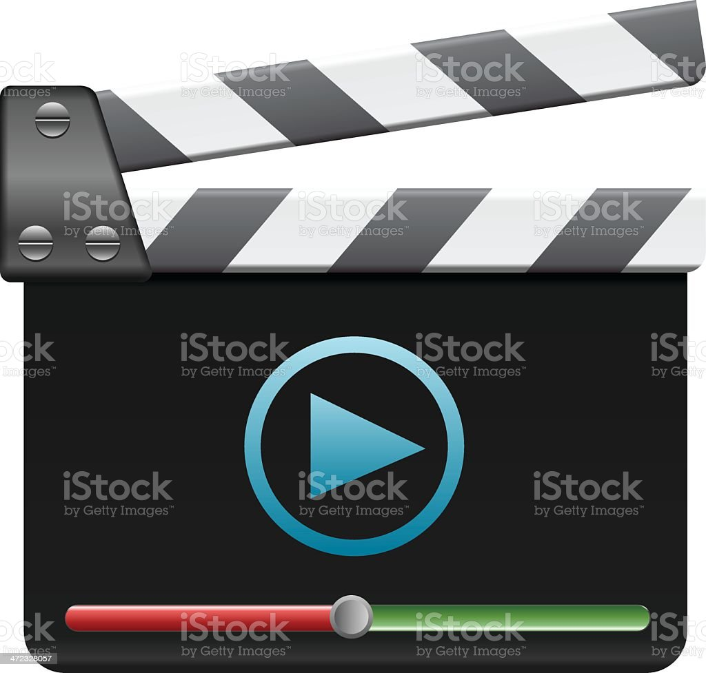 Clapboard with player royalty-free stock vector art