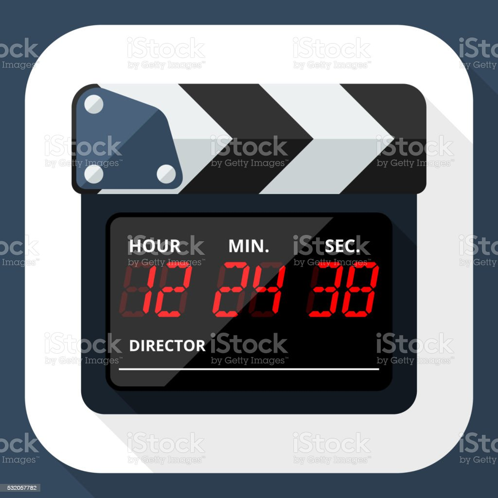 Clapperboard icon with long shadow vector art illustration