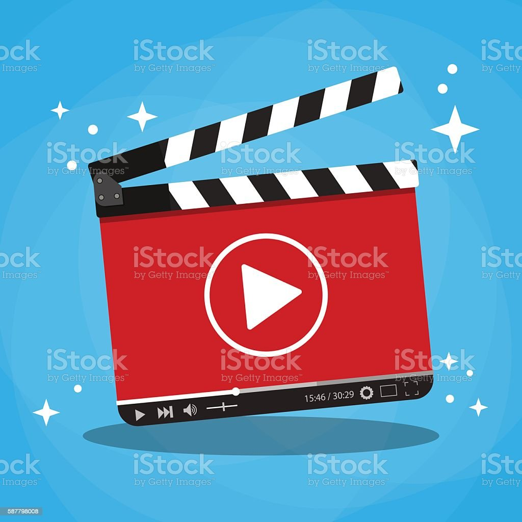 clapperboard with video web streaming player vector art illustration