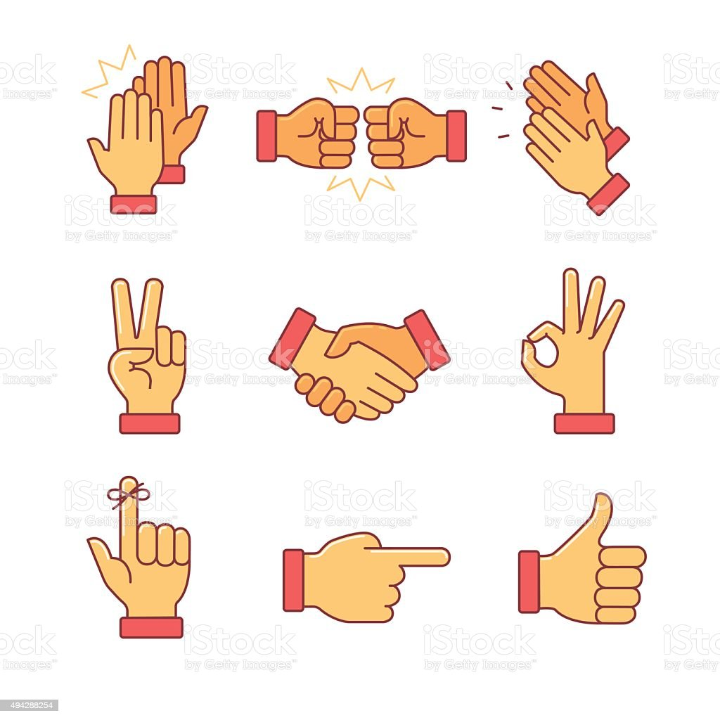 Clapping hands and other gestures vector art illustration