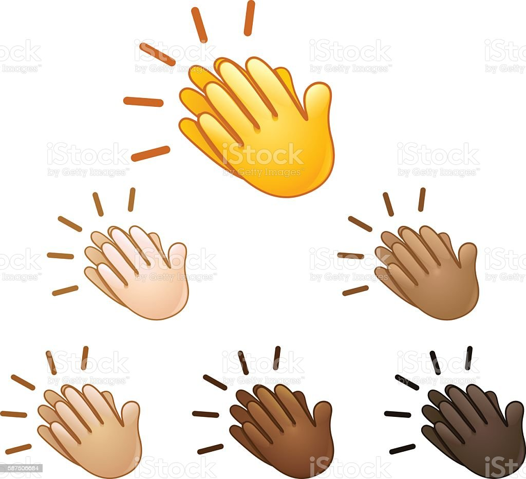 Clapping hands sign emoji vector art illustration