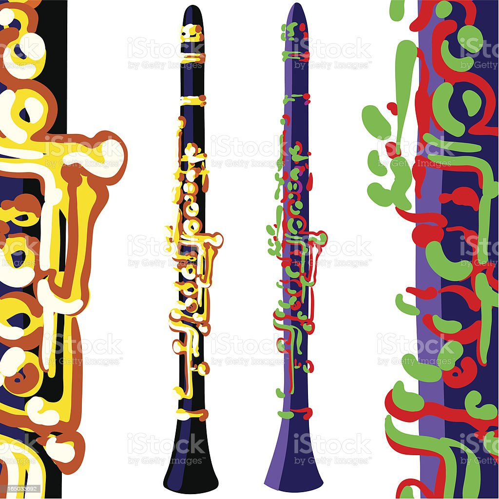clarinets, different colors vector art illustration